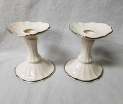 "Set of 2 Symphony Candlesticks Ivory Porcelain Gold Trim 4.5"" Tall Table... - $16.48"