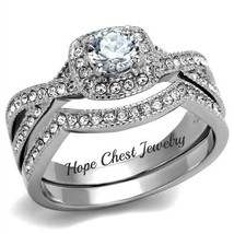 WOMEN'S ANTIQUE DESIGN STAINLESS STEEL CZ ENGAGEMENT & WEDDING RING SET ... - $21.59
