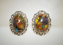 Vintage Murano Aventurine Colorful Glass Cabochon Silver Tone Clip on Earrings - $16.25