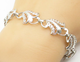 GERMANY 925 Silver - Vintage Shiny Floral Swirl Filigree Chain Bracelet ... - $34.61