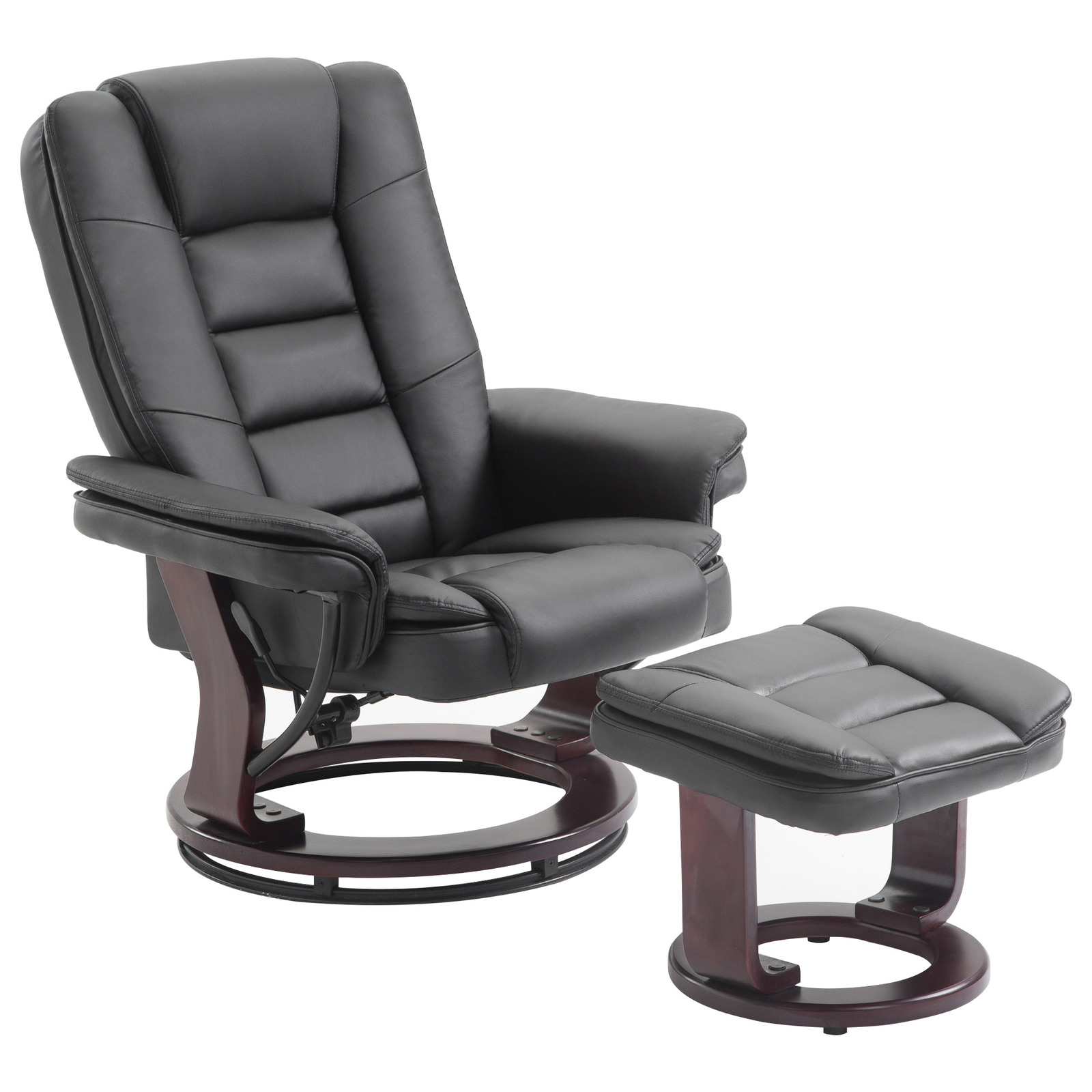 PU Leather Executive Leisure Recliner Chair Swivel Furniture w/ Ottoman Black
