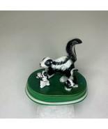 Skunk Family Figurine Set of 3 Mother 2 Babies Ceramic On Green Plastic ... - $26.72