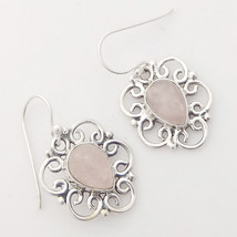 Solid 925 Sterling Silver Rose Quartz Drop Earrings, Handmade Jewelry fo... - $22.99