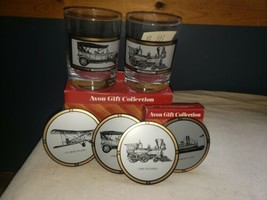 Avon Gift Collection America On The Move 22k Gold Trim Glass Tumblers & ... - $19.79