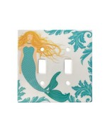 Blonde Mermaid Ceramic Double Switchplate Wall Floater Light Switch Cove... - $27.67