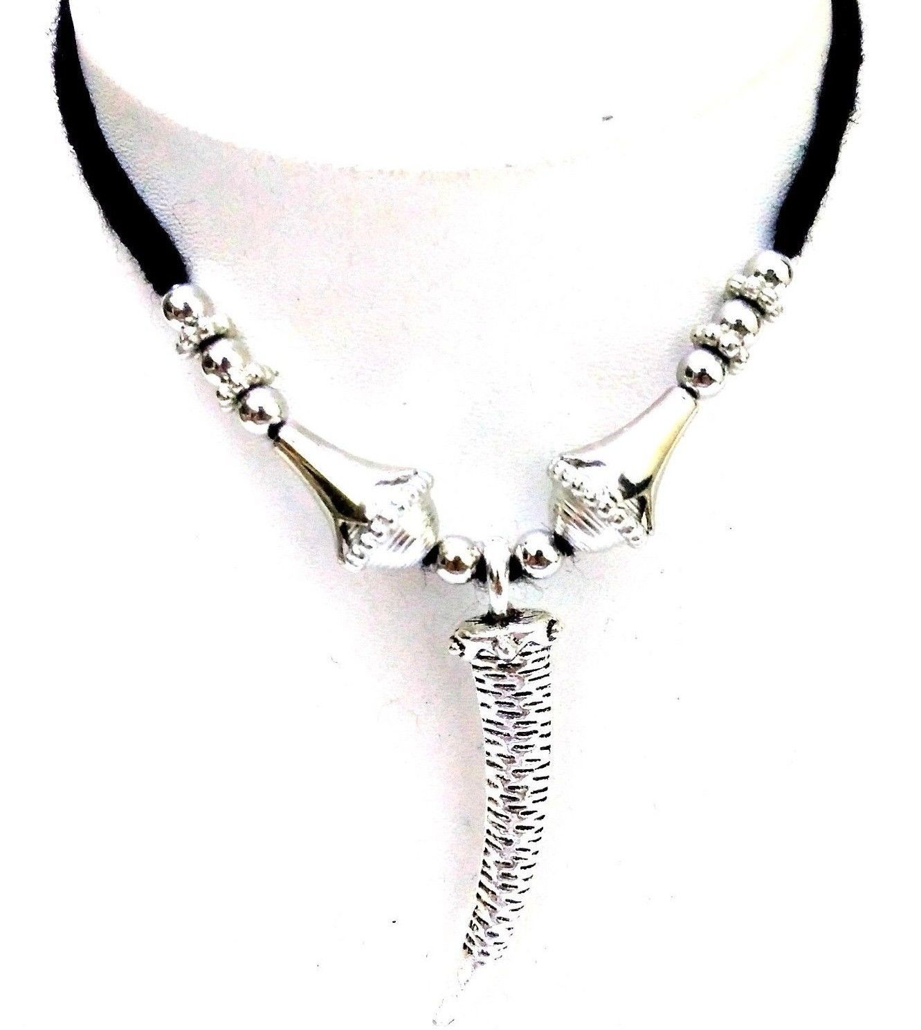 KNIFE Silver Oxidized Necklace Pendant Choker Collar Long String Jewelry 8-99