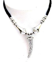 KNIFE Silver Oxidized Necklace Pendant Choker Collar Long String Jewelry... - $5.20