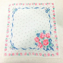 "Vintage Hankie Pink Roses Bouquet Blue Ribbon Rose Bud Edges 11 3/4"" - $14.36"