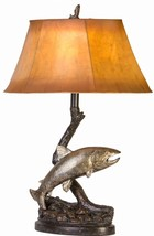 "Jumping Trout Table Lamp Lake Fish Fishing  Rustic Cabin Lodge Decor 27.5""H - $134.00"
