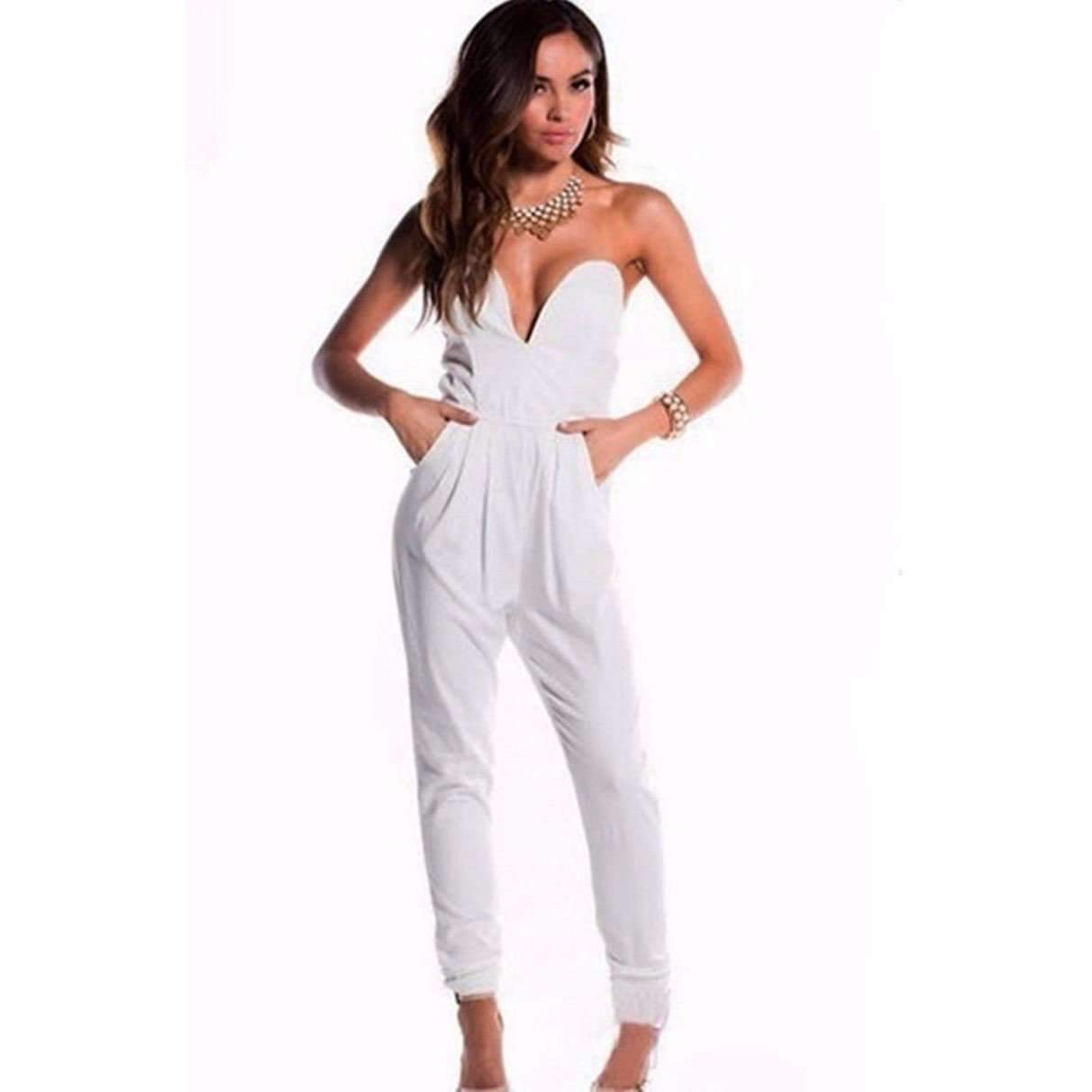 Sexy Sleeveless Black and White Romper Jumpsuit