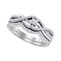10k White Gold Princess Diamond Bridal Wedding Engagement Ring Band Set 1/3 Cttw - £472.54 GBP