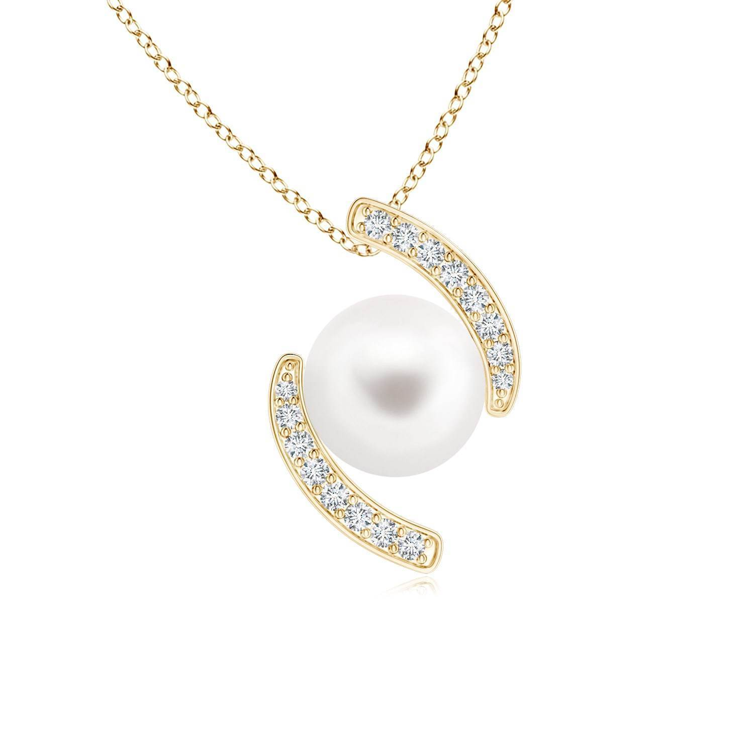 Angara Akoya Cultured Pearl Pendant with Cascading Diamonds