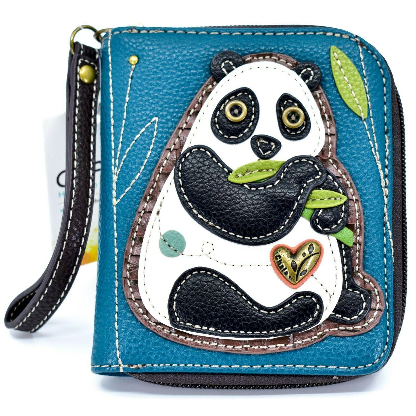 Chala Handbags Faux Leather Panda Turquoise Blue Zip Around Wristlet Wallet