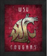 "Washington State Cougars ""Retro College Logo Map"" 13x16 Framed Print  - $39.95"