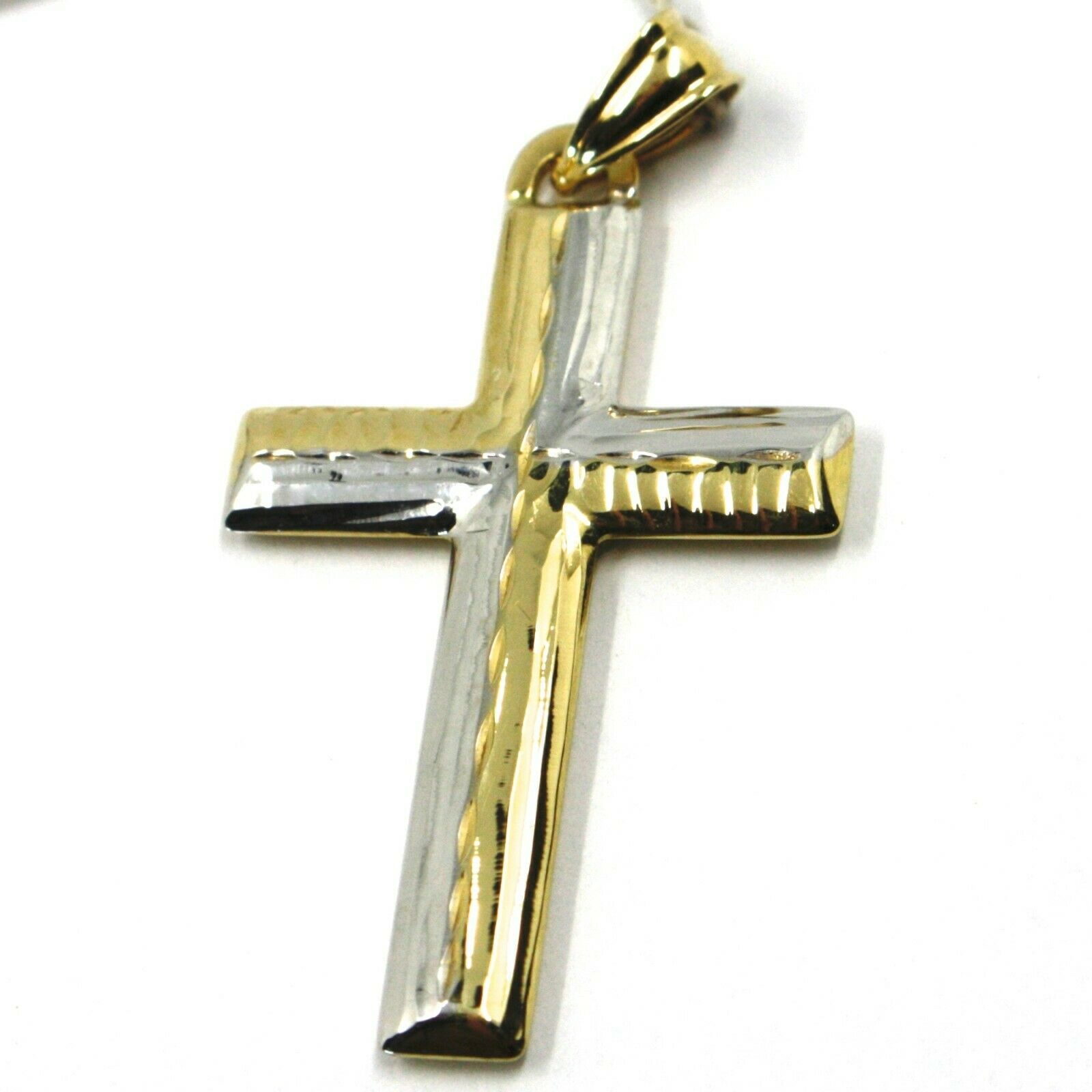 SOLID 18K WHITE & YELLOW GOLD CROSS, FINELY HAMMERED, 1.53, MADE IN ITALY