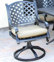 Luxury propane fire pit rectangle outdoor dining set 9 piece cast aluminum patio image 9