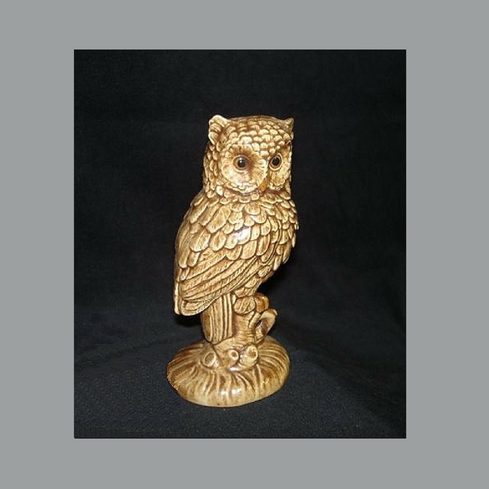 Vintage Mid-Century Perched Owl Figurine Ceramic