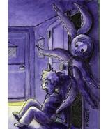 ACEO Original Monster In The Closet Halloween scary cartoon octopus kraken - $16.00