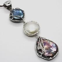 Silber Anhänger 925, Drei Perlen Barock-Stil, Disco Tropf, Zirkonia, Made Italy image 2