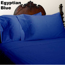 Egyptian Blue Stripe 6PC Bed Sheet Set 1200Thread Count Egyptian Cotton ... - $76.20