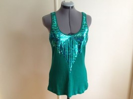 Express Green Teal Sequined FrontTank Top S - $15.45