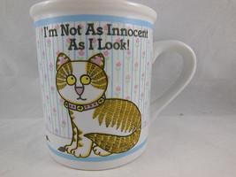 1986 Pat Berrini Enesco Cat Coffee Mug I'm not as innocent as I Look - $12.86