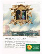 Vintage 1955 Magazine Ad Shell Oil Research Leads To Finer Products / Westclox - $5.93
