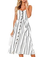 Women's Casual Beach Summer Dresses Flattering A Line Spaghetti Strap Bu... - $22.21