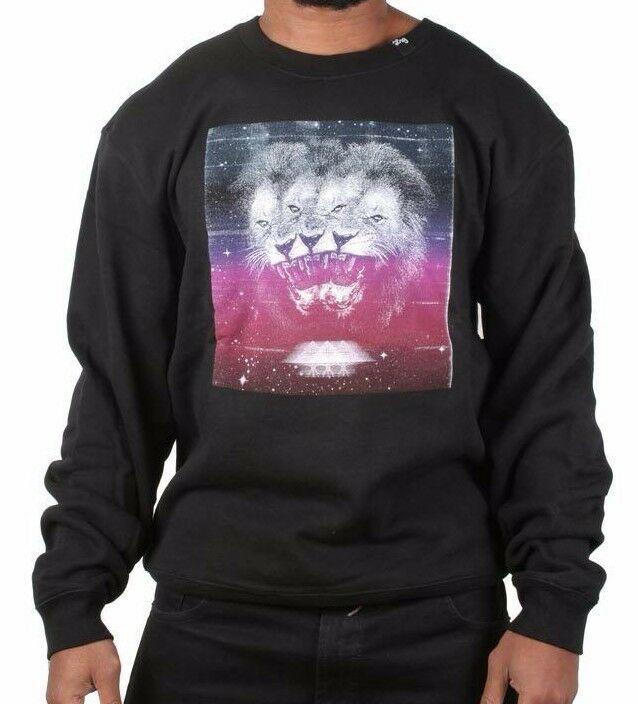 LRG Men's Charcoal Heather or Black Triple Threat Lion Crewneck Sweater NWT