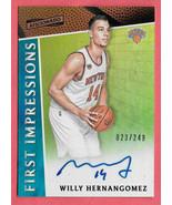 2016-17 Willy Hernangomez Panini Aficianado Rookie Auto 023/249 - Ny Knicks - $3.79