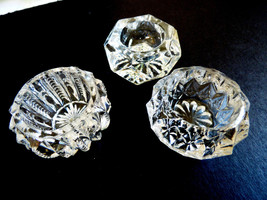 LOT OF 3 VTG & NEW CLEAR GLASS CRYSTAL OPEN SALT OR PEPPER BOWL DISH - $19.01