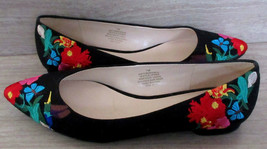 NINE WEST Obedience Black Flats Embroidered Floral Hummingbird Butterfly... - $24.49