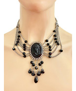 Elvira Black Cameo Statement Necklace By Sweet Romance Goth, Punk Made In USA - $84.65