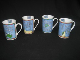 Set of Four Porcelain Christmas Blessings Cups Mugs Peace On Earth Child... - $16.78