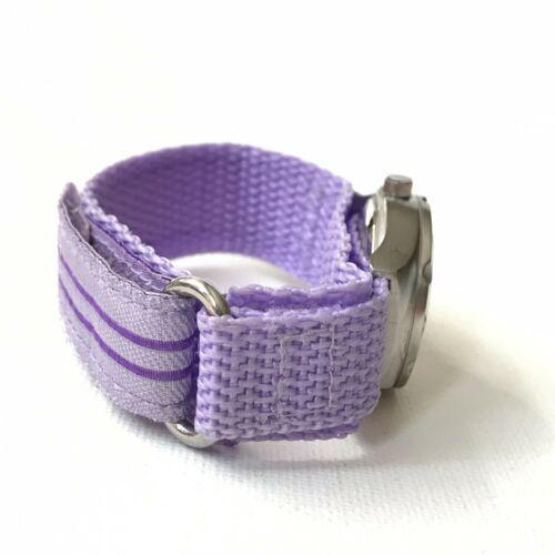 Vintage Swerve Women's Silver Purple Nylon Strap Watch Fresh Battery EXCELLENT! image 5