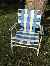 VTG Aluminum Webbed Folding Chair Beach Lawn Patio Porch Camp Retro Blue... - $29.69