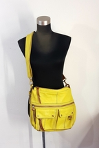Fossil Chartreuse Green Cowhide Pebble Grain Leather Crossbody Messenger... - $50.00