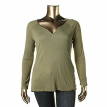 NWT HIPPIE ROSE Olive Green Ribbed Knit Henley Top Long Sleeve Tee T-Shi... - $14.99