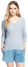 NWT Vince Women's Linen V Neck Sweater, Chambray, Large