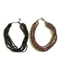 Beaded Choker Necklaces Multi Strand Black & Pink Amber Premier Designs ... - $19.79