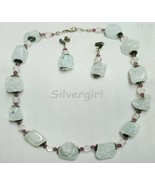Light Blue Dyed Clear Quartz Gemstone Necklace and Earring Set - $25.99