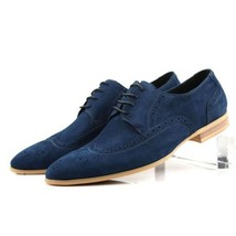 Handmade Blue Color Wing Tip Formal Dress Stylish Men Lace Up Tan Sole Shoes - $139.90+