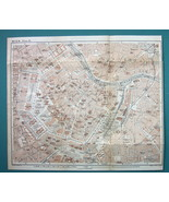 "1905 MAP Baedeker - AUSTRIA Vienna Town Center Plan 9 x 10.5"" (23 x 27 cm) - $11.82"