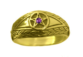 New amethyst stone Evil Eye wealth to positive ring Pentagram 24K Gold P... - $29.89