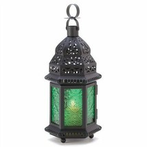 Emerald Green Glass Moroccan Metal Candle Lantern - $7.52