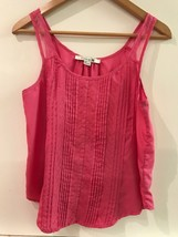 Forever 21 Small Tank Top Pink Sheer Straps Pintucks Front Embroidery Womens - $14.95