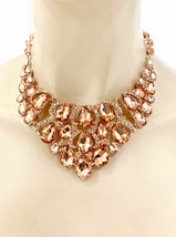 Evening Necklace Earrings Jewelry Set Peach Crystals Drag Queen Pageant Bridal - $32.61
