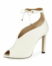 $995 Jimmy Choo Sayra Chalk Booties Pumps Peep Toe Ankle Lace Shoes 39.5... - $439.00