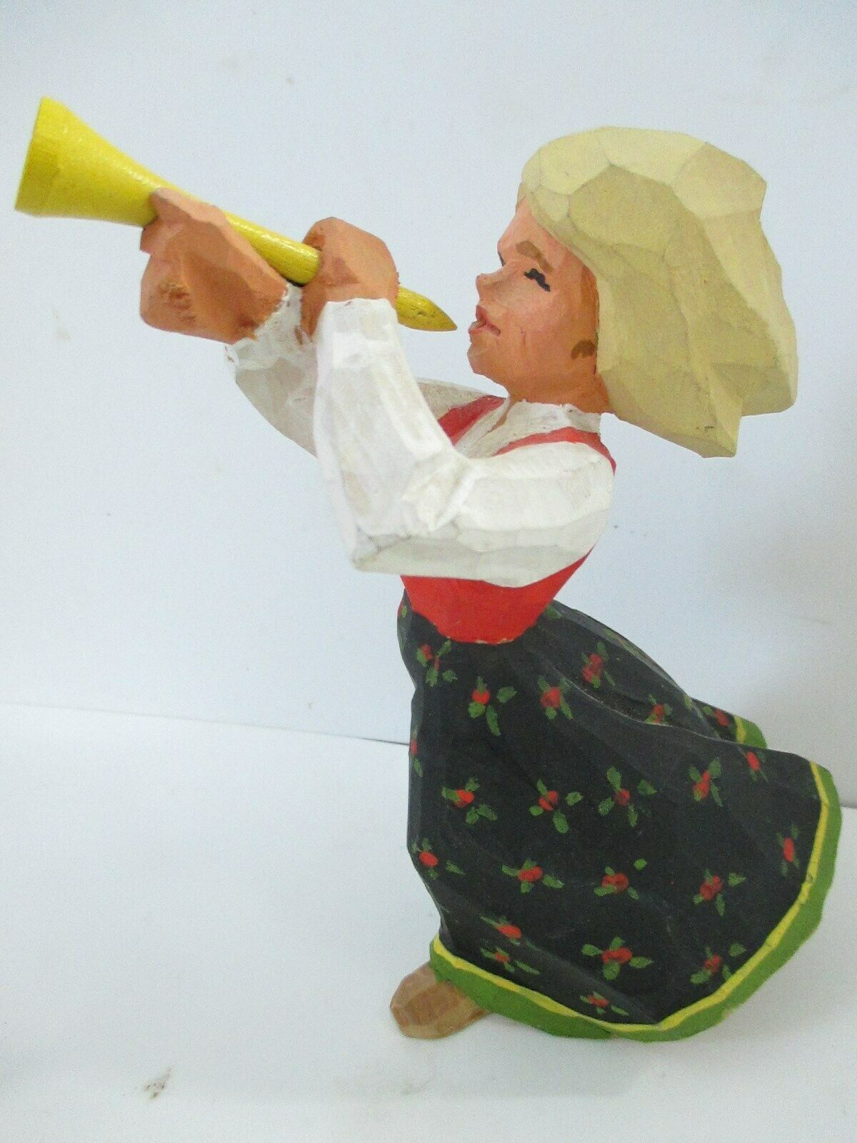 "Wood Carved 6"" Girl Trumpet Figure with Horn"