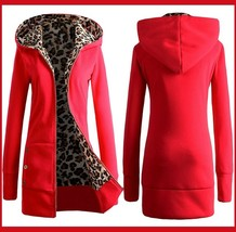 Long Red Front Zip Up Lined Leopard Print Medium Length Hooded Parka Jacket
